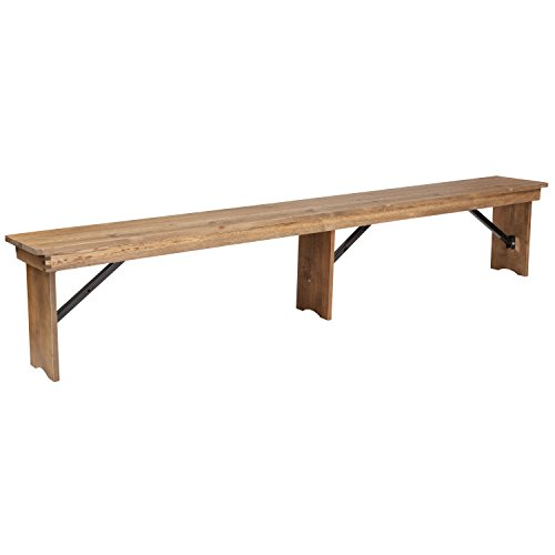 Flash Furniture HERCULES Series 8' x 12'' Antique Rustic Solid Pine Folding Farm Bench with 3 Legs -,