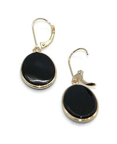 Onyx Black Oval Earrings set in 14K Yellow Gold,Leverbacks