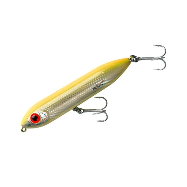 Heddon Jr Super Spook Topwater lure 3-1/2-Inch, Bone/Silver