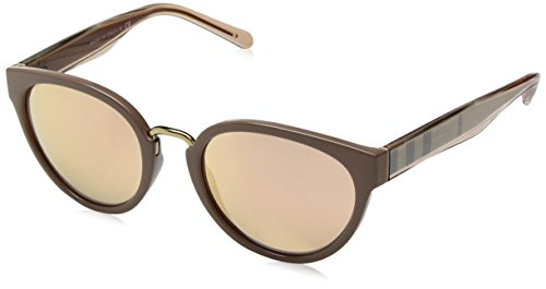 Burberry Women's 0BE4249 Beige/Brown Mirror Rose Gold One - Shades Women Burberry