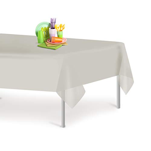 - Light Grey 6 Pack Premium Disposable Plastic Tablecloth 54 Inch. x 108 Inch. Rectangle Table Cover By Grandipity