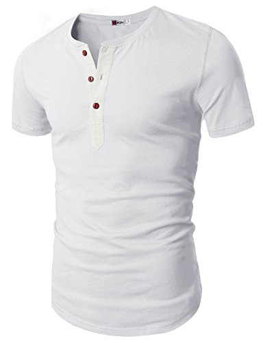 H2H Mens Classic Dress Slim Fit Shirts Breathable Long Sleeve of Various Styles White US XL/Asia XXL (D15S_KMT05S)