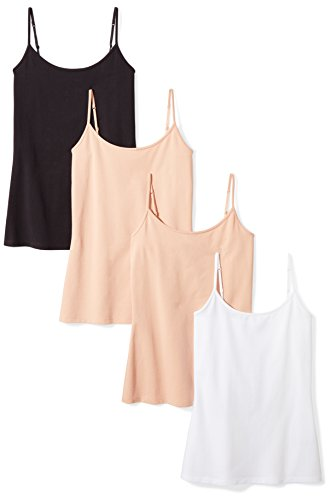 Amazon Essentials Women's 4-Pack Camisole, Camel/Camel/White/Black, Large