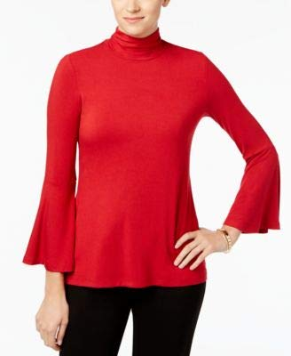 (Alfani Womens Mock Neck Jersey Pullover Top Red L)
