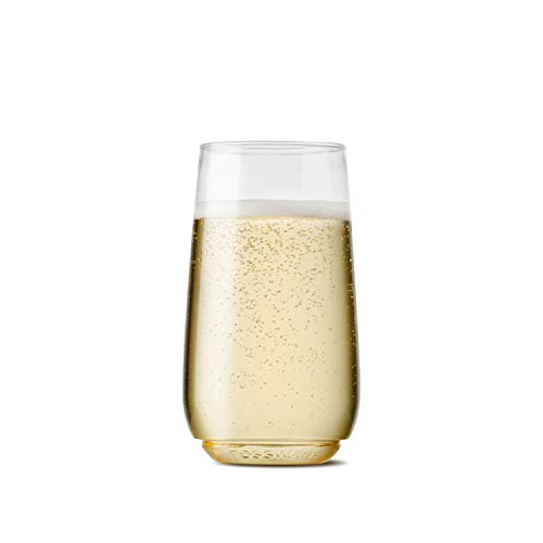 TOSSWARE 6oz Flute Jr - recyclable champagne plastic cup - SET OF 12 - stemless, shatterproof and BPA-free flute glasses