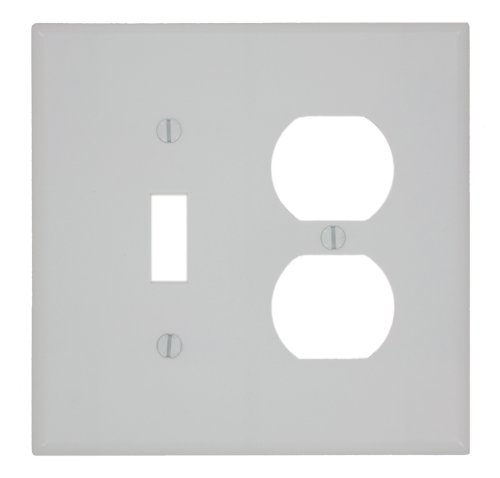 Leviton 80505-W 1-Toggle 1-Duplex Midway Size Wall Plate, 2 Gang, 4.875 In L X 4.94 In W 0.255 In T, 1 pack, White ()