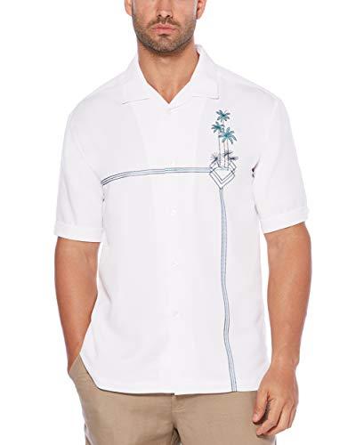 (Cubavera Men's Short Sleeve Rayon-Blend L-Shape Embroidered Cuban Camp Shirt, Bright White, Extra Large)