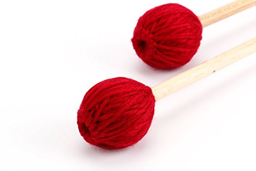 Foraineam Soloist Series Medium Keyboard Marimba Mallets With Maple Handle and Wine Red Yarn Head (Mallets Keyboard Series Medium)