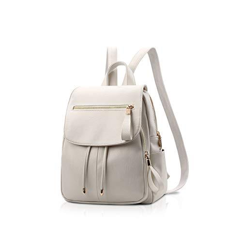 NICOLE&DORIS Mode Frauen Rucksack Mini Rucksack Leder Damen Rucksack Umhängetasche Geldbörsen Mädchen Rucksack Weiß