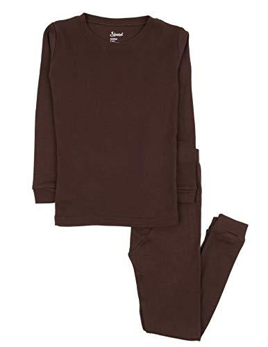 Leveret Kids Pajamas Boys & Girls Solid Brown 2 Piece Pajama Set 100% Cotton Size 3 Years