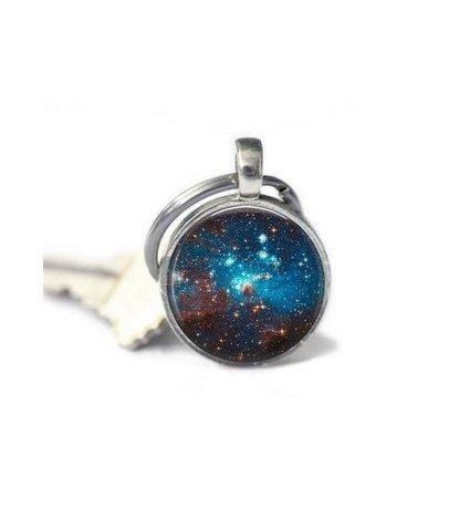 Space Sparkle Key Chain Glass Art Jewelry Picture Key Chain Photo Key Chain Handcrafted Key (Handcrafted Key)