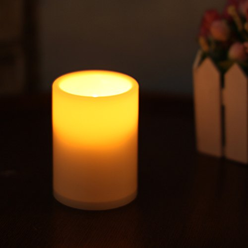 Home impressions Flameless Battery Operated Plastic Pillar Led Candle Light with Timer, 3 x 4', Ivory