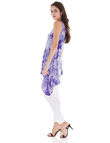H2H Womens Baggy Fit Sleeveless Tunic Tie Dyed Soft Tank Top Purple US XL/Asia XL (CWTTK013)