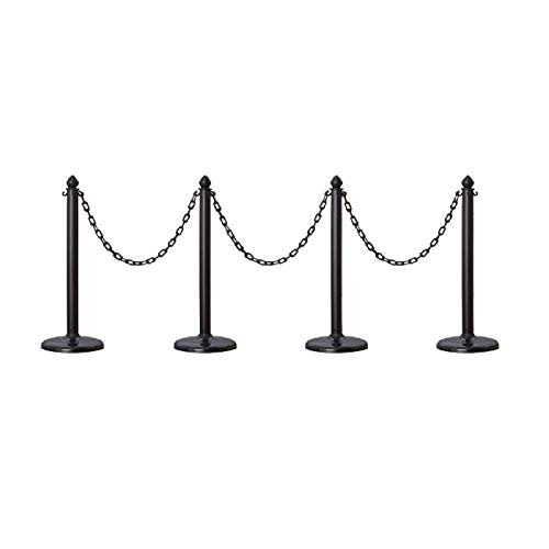 Plastic Safety Queue Stanchion Barrier Set with 32
