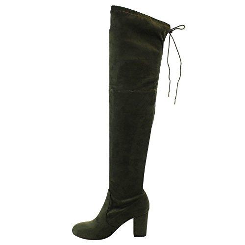 ShoBeautiful Damen Overknee Stiefel Stretchy Oberschenkel Hohe Chunky Block Heel Stiefel Olive