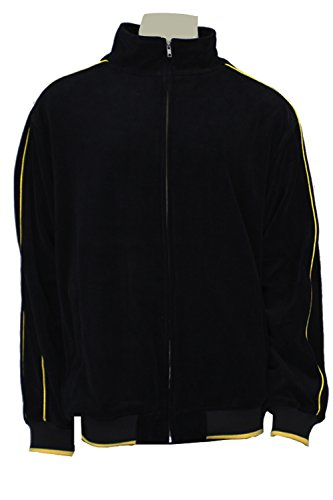 Mens Black Velour Tracksuit with Yellow Piping (Large) by Sweatsedo (Image #2)