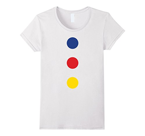 Womens Fast Halloween Clown Costume T-Shirt - Easy and Quick Small White