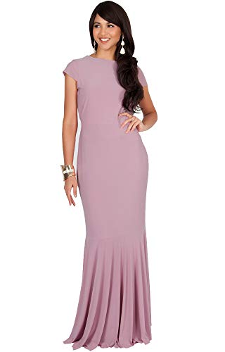 KOH KOH Womens Long Cap Sleeve Elegant Formal Sexy Evening Cocktail Maxi Dress