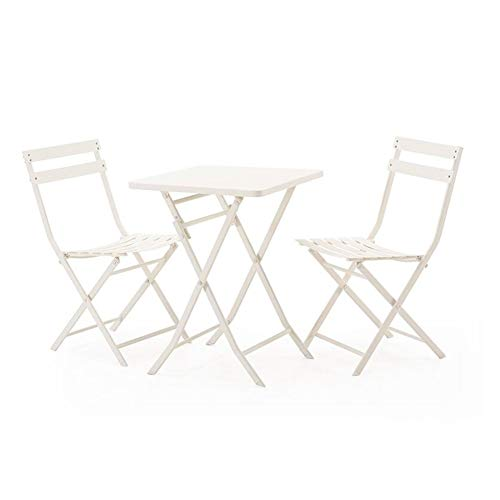 Table Folding Square Patio Iron - QIDI Folding Chair Easy to Carry Folding Table Iron Art Modern Simplicity Outdoor - Table and Chair Combination - Three Pieces Sets (Color : White, Size : Square Table+Two Chairs)