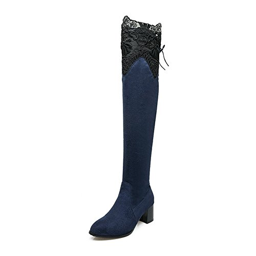 AgooLar Women's Solid Kitten-Heels Pointed Closed Toe Imitated Suede Lace-up Boots Blue C7zlBmVtR