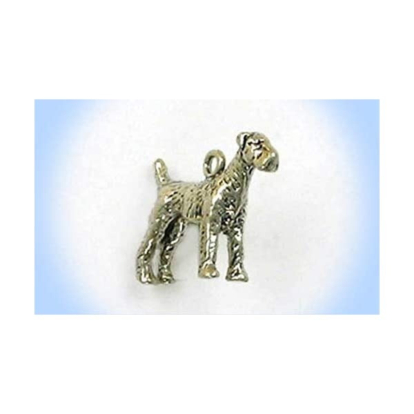 Sterling Silver 3-D Airedale Terrier Charm Vintage Crafting Pendant Jewelry Making Supplies - DIY for Necklace Bracelet Accessories by CharmingSS 1