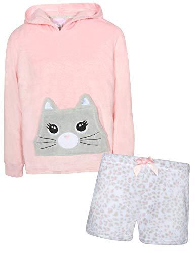 (Rene Rofe Girl's 2-Piece Coral Fleece Character Pajama Short Set with Hoodie, Cat, Size 10/12' )