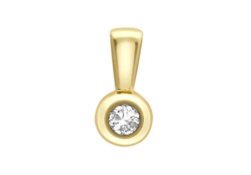 Jewellery World Bague en or jaune 9carats 0,20ct Diamant Pendentif Donut