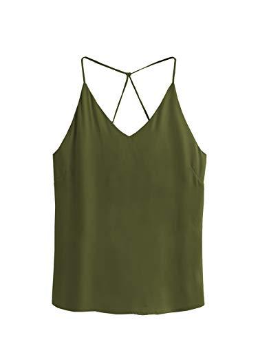 SheIn Women's Casual V Neck Criss Cross Spaghetti Strap Chiffon Cami Tank Top Army Green M