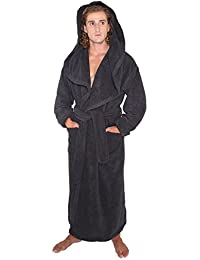 Mens Big & Tall Long Monk Robe Hooded Full Length Turkish Cotton Bathrobe