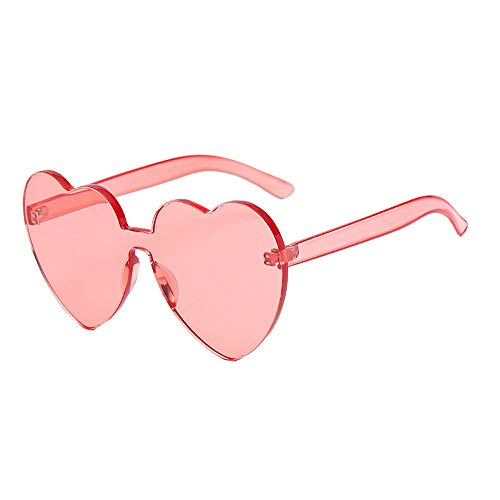 Heart Shaped Rimless Sunglasses One Pieces Transparent Candy Color Frameless Glasses Love Eyewear (WR)