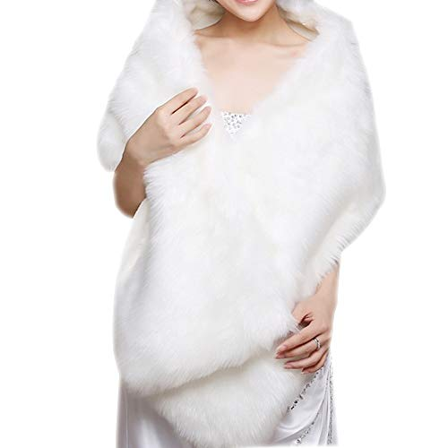Clip Fur Dress - Dikoaina White Faux Fur Wrap Shawl Shrug Bolero Cape for Bridal Winter Weddings Gift (white)