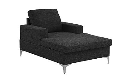 Casa Andrea Milano Modern Chaise Lounge, Mid Century Linen Fabric Chaise