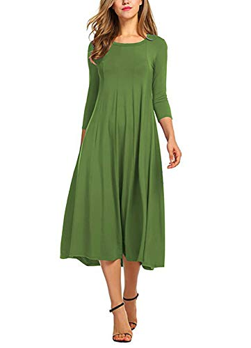 (Ladybranch Women's 3/4 Sleeves Solid Color Casual Long Dress A-Line Loose Pleated Midi Dress (X-Large, Olive Green))