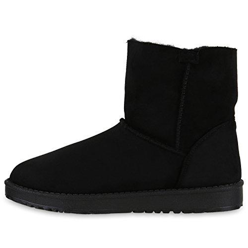 Damen Boots Schwarz Bommel Glitzer Warm Schuhe Nieten Blumen Stiefelparadies Stiefeletten Profilsohle Strass Gefütterte Kunstfell Flandell Schlupfstiefel Stiefel S0SqwBd