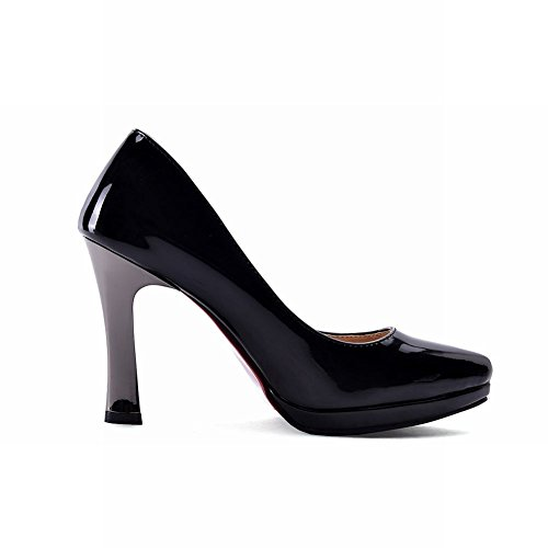 Carolbar Womens Pointed Toe Patent Leather High Heels Pumps Shoes Black eQWcV9