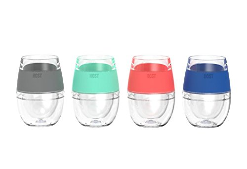 Cool Pint Glasses, 4pcs Wine Freeze Assorted Color Insulated Cooling Pint Glasses by HOST