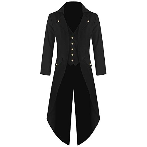 SMALLE ◕‿◕ Steampunk Men's Trench Coats Gothic Hooded Detachable Long Coats Tailcoat Party Overcoat (z_ Black, M)