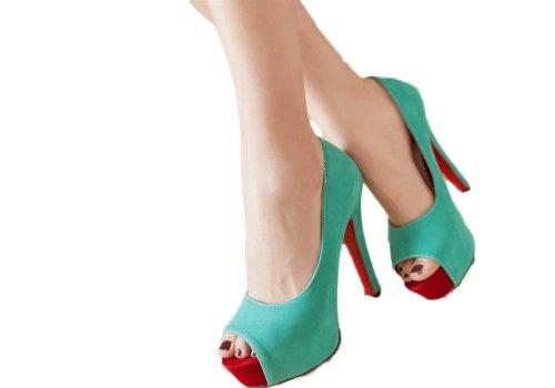 Nieuwe Mode Dames Nubuck Dames Platform Pump Hoge Hakken Peep Toe Sandalen Schoenen Blauw