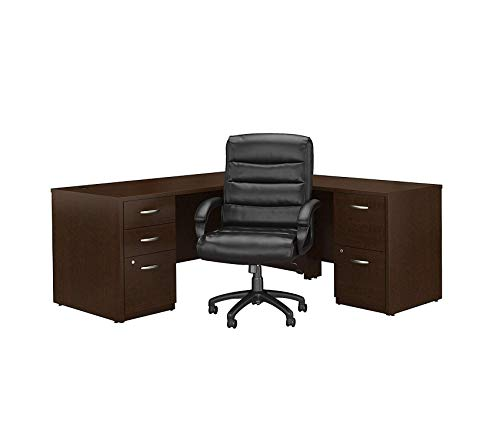 - Wood & Style Furniture Elite 72W L Shaped Desk with File Cabinets and Mid Back Executive Office Chair in Mocha Cherry Premium Office Home Durable Strong