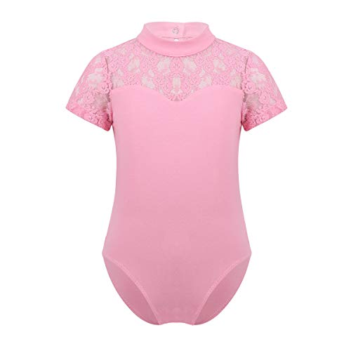(Agoky Big Girls Turtle Neck Lace Back Retro Dancewear Ballet Gymnastics Leotard Costumes Pink (Floral Lace))