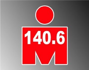 "RED Mdot Ironman Triathlon 140.6 Vinyl Decal Bumper Sticker 4""x5"""