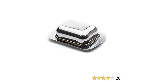 Construido de acero inoxidable pulido para la fuerza la durabilidad y un brillo atractivo Jean-Patrique Plato de mantequilla de acero inoxidable Windsor con tapa
