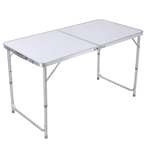 GARTIO 4FT Aluminum Folding Table, Fold-in-Half, Height Adjustable Portable Lightweight Camping Beach Dining Utility Desk, with Handles, for Indoor Outdoor Garden Picnic Party, White