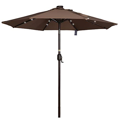 - Sundale Outdoor 7 ft Solar Powered 24 LED Lighted Patio Umbrella Table Market Umbrella with Crank and Push Button Tilt for Garden, Deck, Backyard, Pool, 8 Steel Ribs, Polyester Canopy (Coffee)