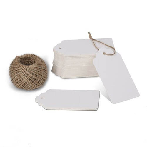 KINGLAKE 100 Pcs White Kraft Paper Blank Gift Tags with String Wedding Favor Hang Tags with 100 Feet Natural Jute Twine Retangle Tags for Crafts & Price Tags Labels ()
