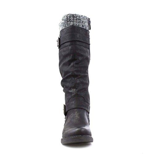 Lotus Womens Black Matt Effect Knee High Boot Black CEIcBrOr