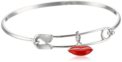 sterling-silver-epoxy-enamel-red-lips-charm-safety-pin-easy-open-bangle-bracelet-725