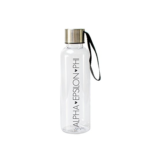 (A-List Greek 17 Oz Water Bottle - Eco Friendly & BPA-Free AS Plastic Sports Bottles with Strap Features with Black Color Sorority Block Letters Alpha Epsilon Phi | Perfect for Office, Outdoors)