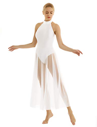 (FEESHOW Lyrical Women Adult Mock Neck High-Low Dance Dress Ballet Leotard Flowy Split Skirt White Small)