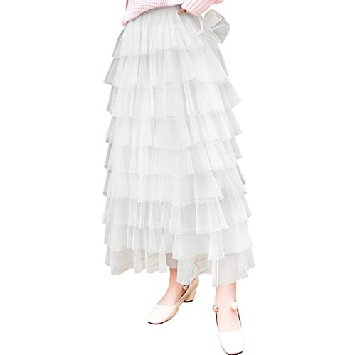 Itemnew Women's Sweet Elastic Waist Tulle Layered Ruffles Mesh Long Tiered Skirt (One Size, White)